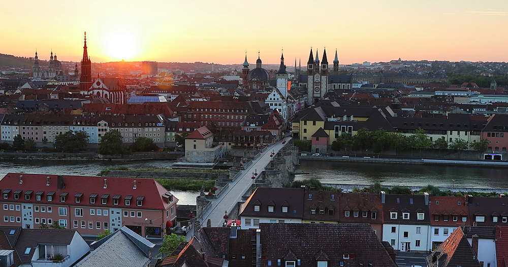 View of Wurzburg at dawn, Bavaria, Germany