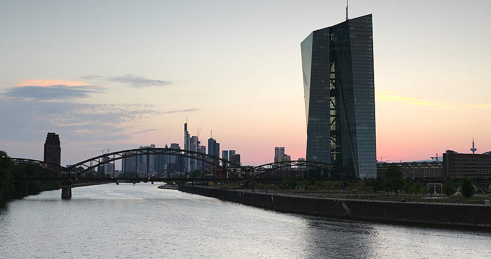 European Central Bank at sunset, Frankfurt, Hesse, Germany - 800-3644