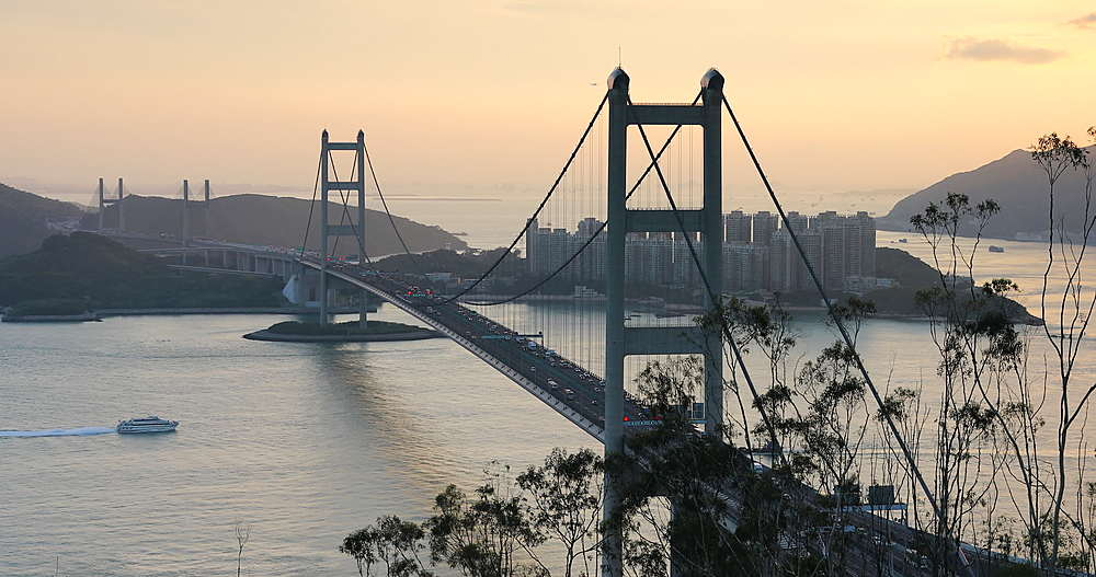 View of Tsing Ma Bridge at sunset, Tsing Yi, Hong Kong - 800-3657