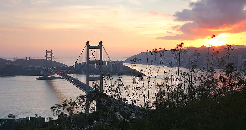 View of Tsing Ma Bridge at sunset, Tsing Yi, Hong Kong - 800-3658