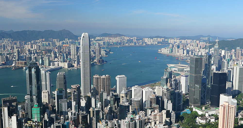 View of Hong Kong Island and Kowloon skylines from Victoria Peak, Hong Kong - 800-3660