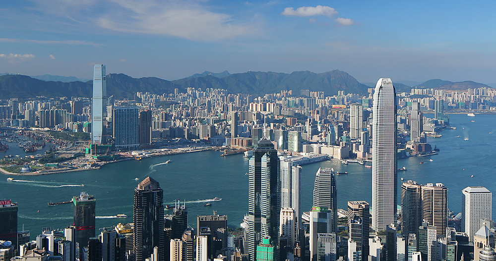 View of Hong Kong Island and Kowloon skylines from Victoria Peak, Hong Kong - 800-3661