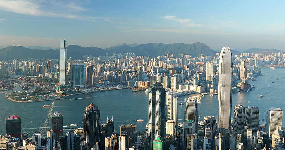 View of Hong Kong Island and Kowloon skylines from Victoria Peak, Hong Kong - 800-3663