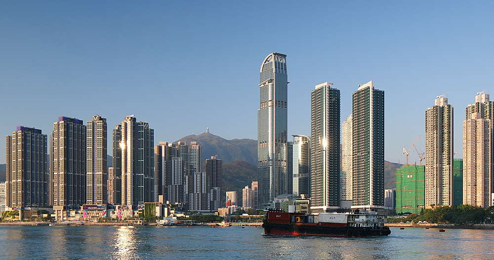 Ship passing Tsuen Wan skyline with Nina Tower, Hong Kong - 800-3672