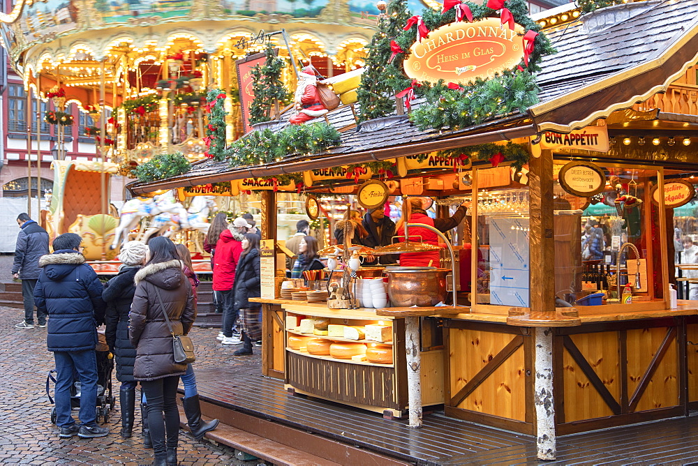 Food stall at Frankfurt Christmas Market, Frankfurt am Main, Hesse, Germany, Europe