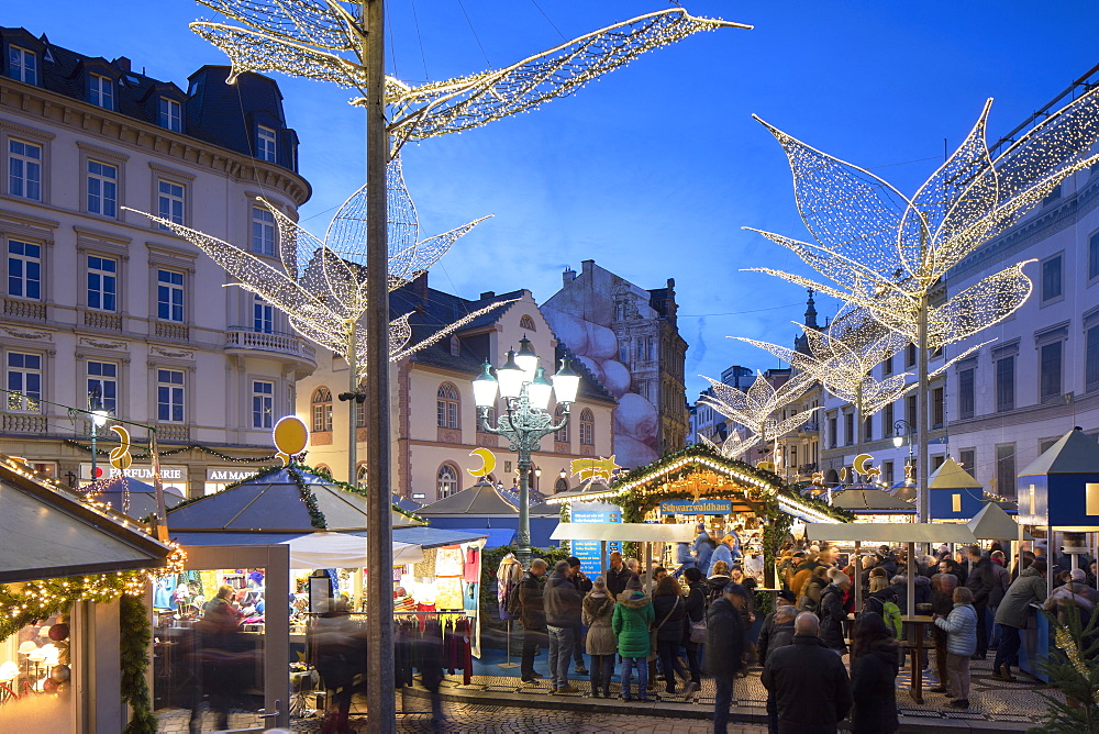 Christmas Market at dusk, Wiesbaden, Hesse, Germany