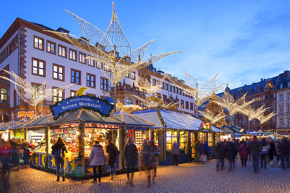 Christmas Market at dusk, Wiesbaden, Hesse, Germany - 800-3682