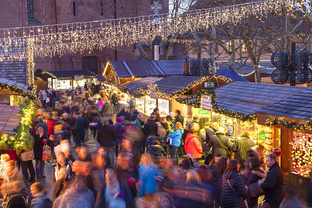 Christmas Market at dusk, Mainz, Rhineland-Palatinate, Germany - 800-3689