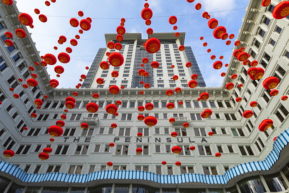 Lanterns outside Peninsula Hotel, Tsim Sha Tsui, Kowloon, Hong Kong, China, Asia