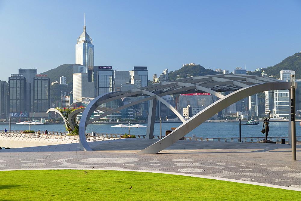 Tsim Sha Tsui promenade and skyline, Tsim Sha Tsui, Kowloon, Hong Kong