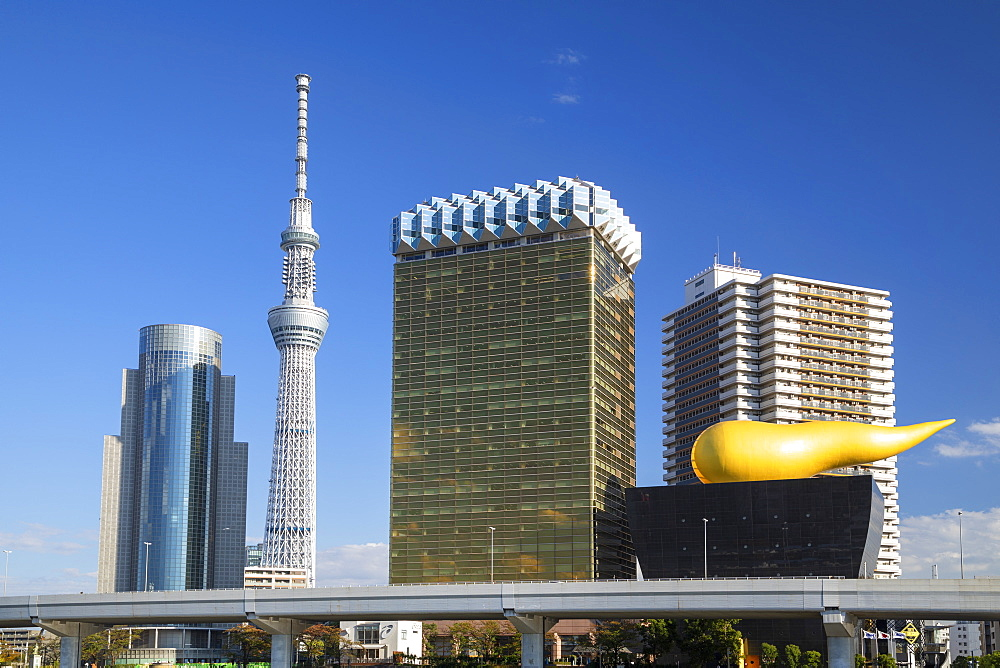 Tokyo Skytree and Asahi Breweries Tower, Tokyo, Honshu, Japan, Asia