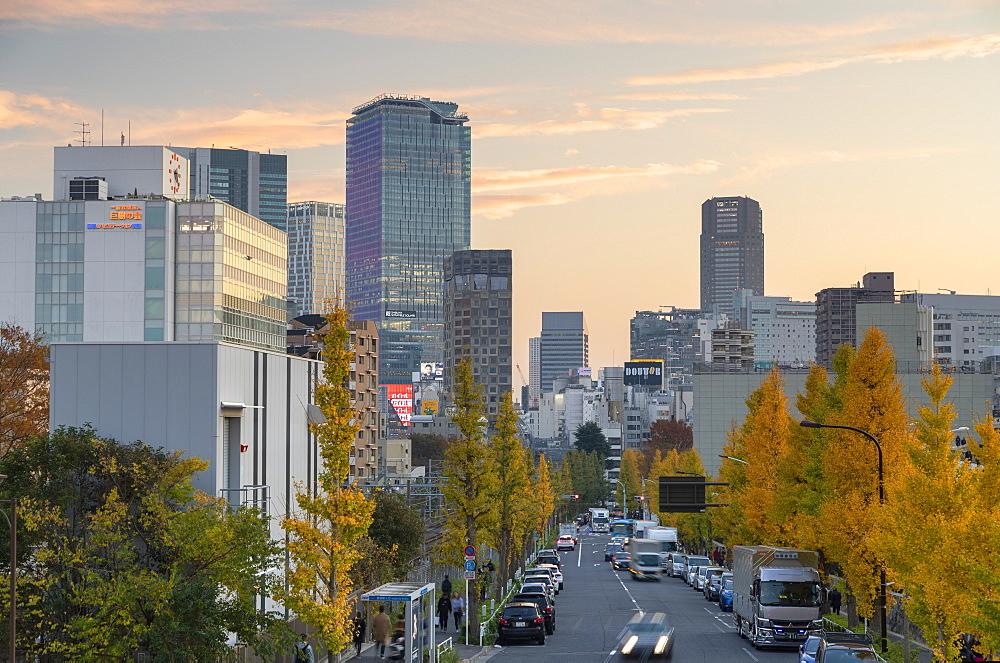 Skyline of Shibuya at sunset, Tokyo, Honshu, Japan, Asia