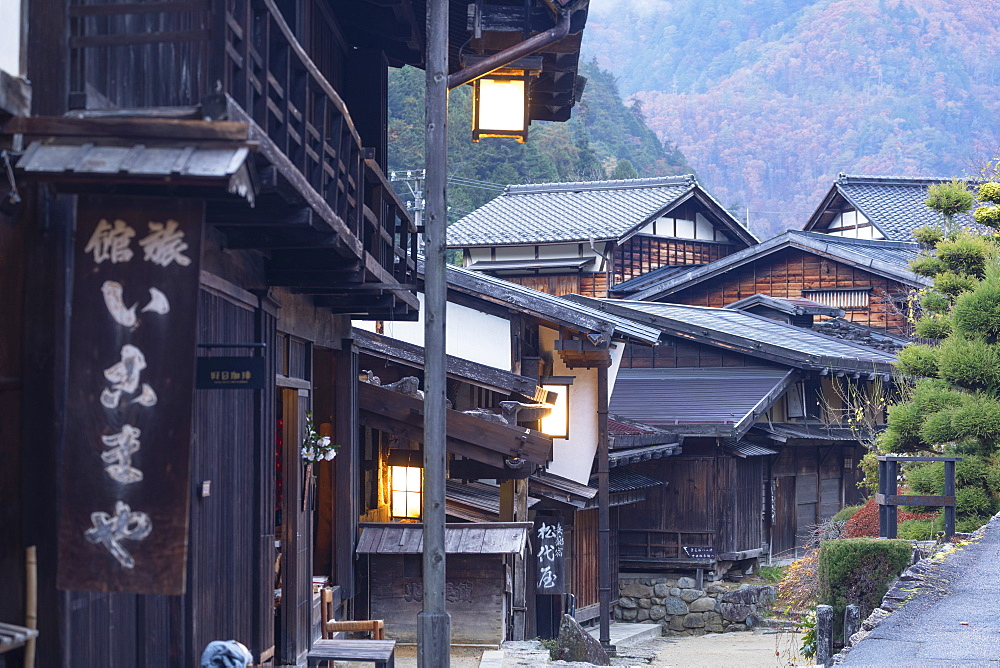 Traditional buildings on Nakasendo Way, Tsumago, Gifu Prefecture, Honshu, Japan, Asia