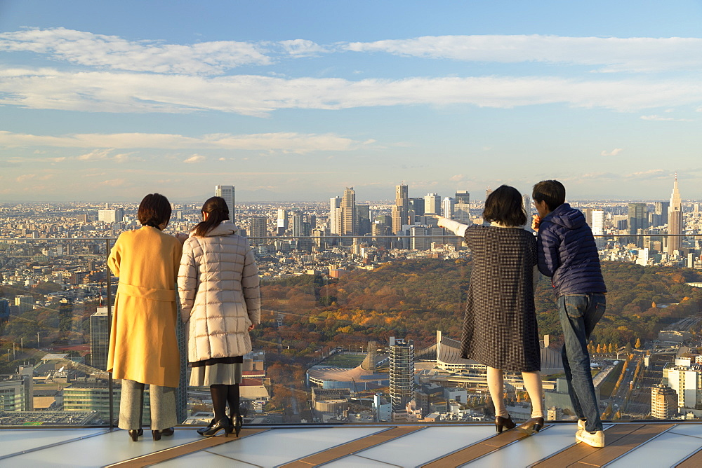 People on rooftop of Shibuya Scramble Square, Shibuya, Tokyo, Japan