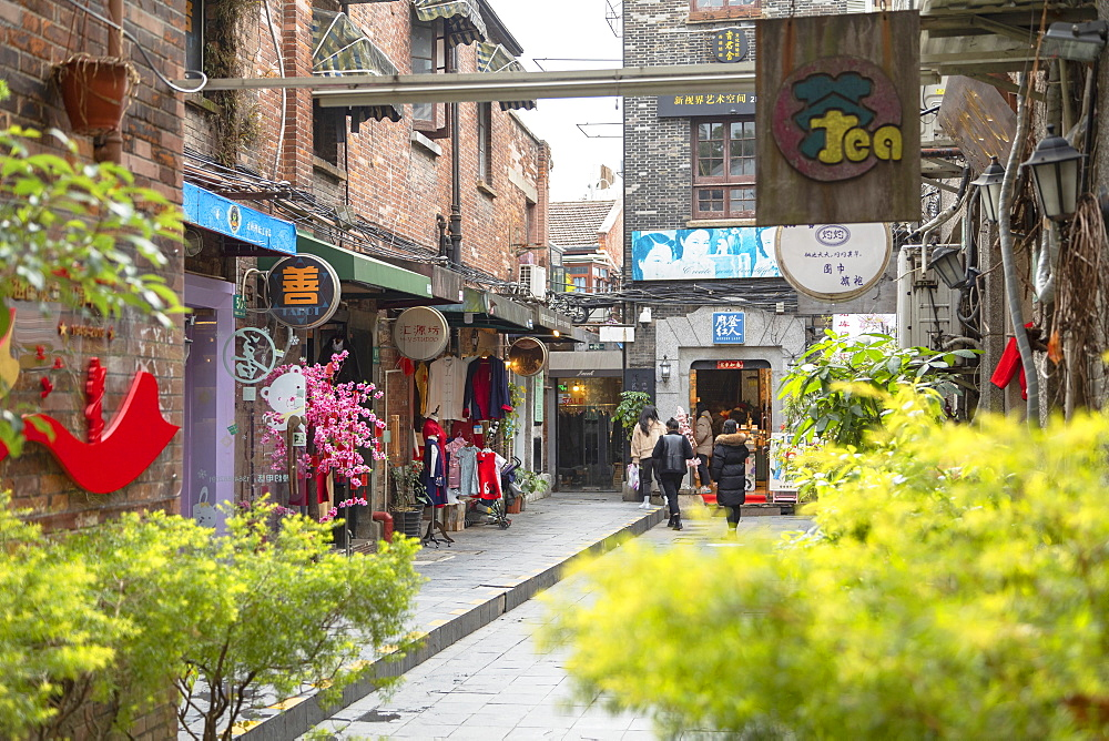 People walking around alleyways of Tianzifang, Shanghai, China, Asia