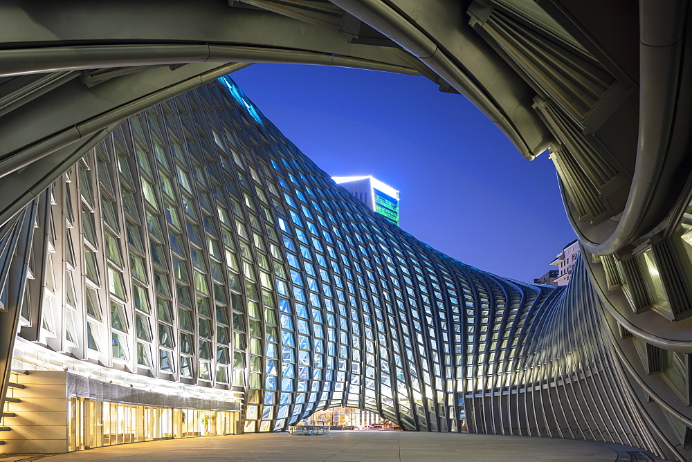 Phoenix International Media Centre at dusk, Beijing, China, Asia - 800-3923
