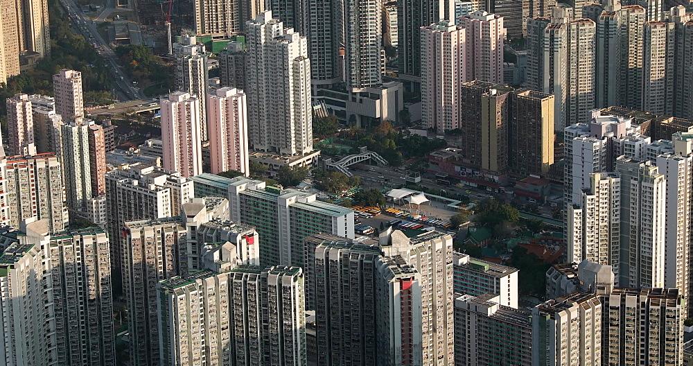 View of apartment blocks, Kowloon, Hong Kong, China, Asia
