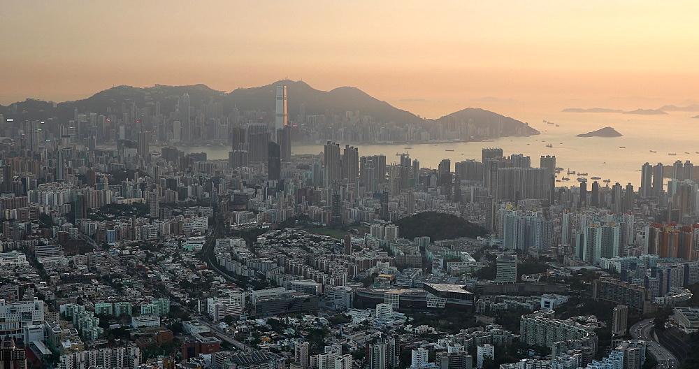 View of Kowloon and Hong Kong Island, Hong Kong, China, Asia