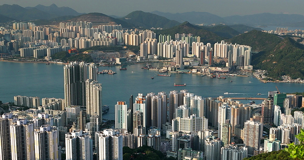 View of Quarry Bay and Hong Kong Island, Hong Kong, China, Asia