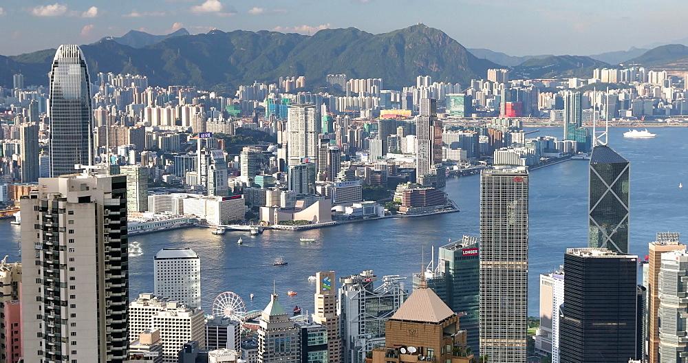 View of Kowloon and Hong Kong Island skylines from The Peak, Hong Kong, China, Asia