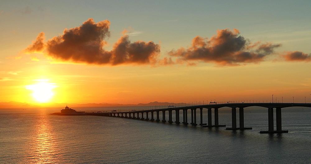 Hong Kong-Zhuhai-Macau Bridge at sunset, Hong Kong, China, Asia