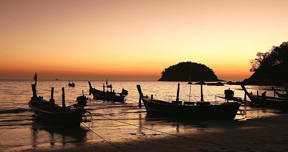 Kata Beach at sunset, Phuket, Thailand, Southeast Asia, Asia