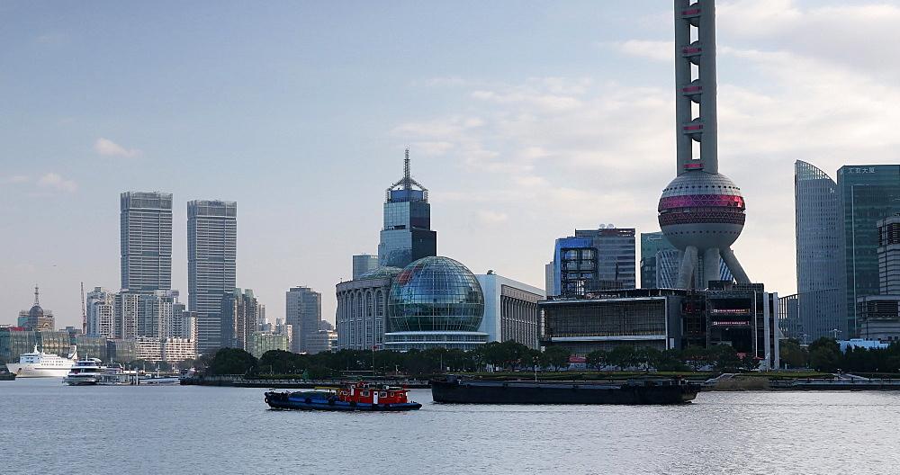 Skyline of Pudong and Huangpu River, Shanghai, China, Asia