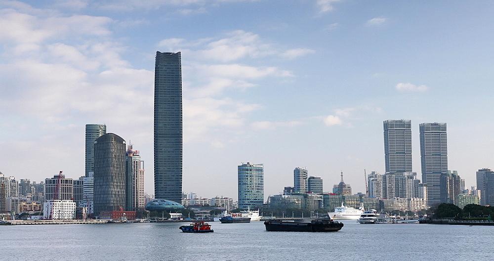 Boats on Huangpu River, Shanghai, China, Asia