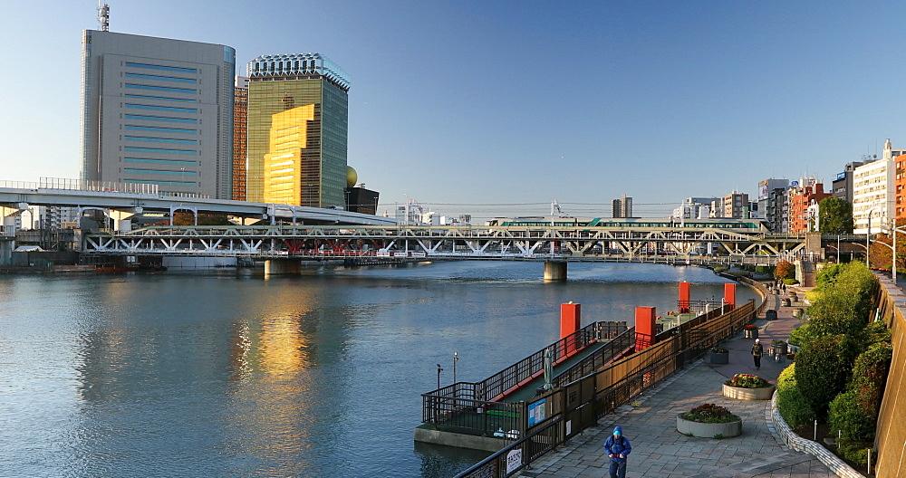 Asahi Beer Headquarters Building and Sumida River, Tokyo, Honshu, Japan, Asia