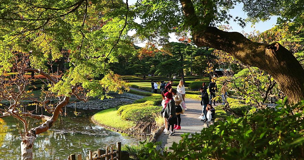 People walking in East Gardens of Imperial Palace, Tokyo, Honshu, Japan, Asia