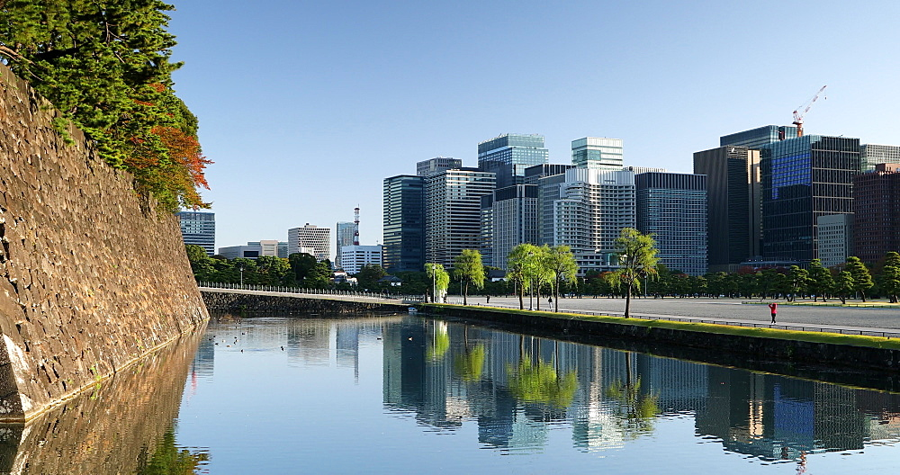 Moat of Imperial Palace and skyscrapers of Marunouchi, Tokyo, Honshu, Japan, Asia