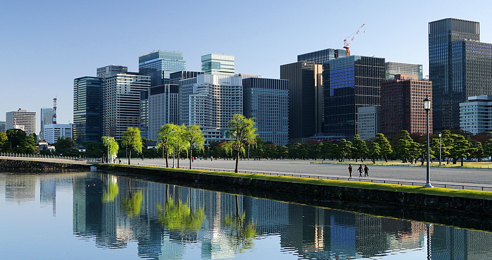 Moat of Imperial Palace and skyscrapers of Marunouchi, Tokyo, Japan - 800-4044