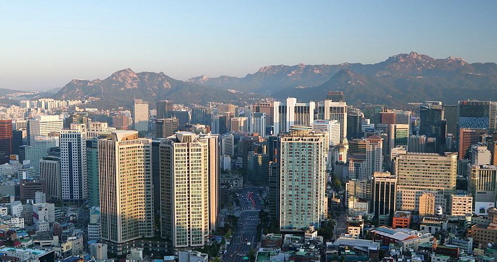 View of Seoul at sunrise, Seoul, South Korea, Asia