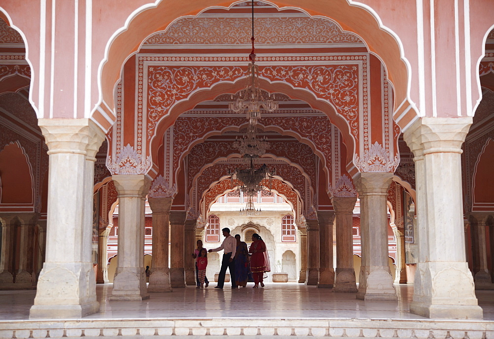 People in Diwam-i-Khas (Hall of Private Audience), City Palace, Jaipur, Rajasthan, India, Asia