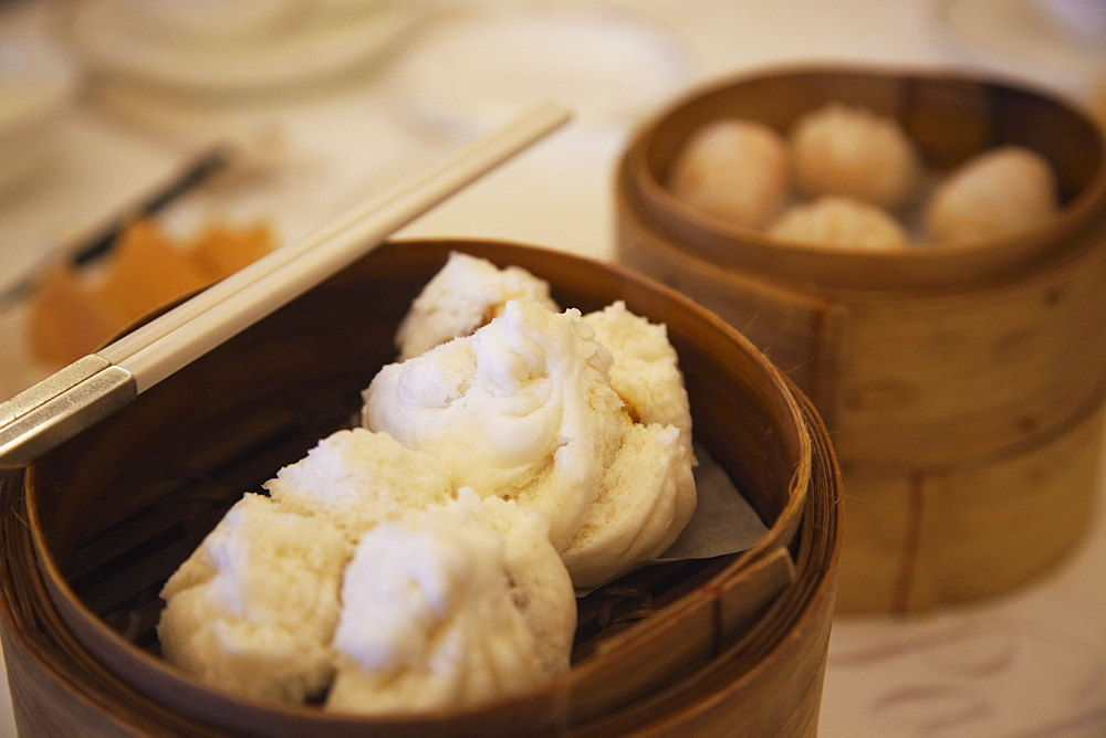 Cha siu bau (barbecued pork bun) at Maxim's dim sum restaurant, City Hall, Central, Hong Kong, China, Asia