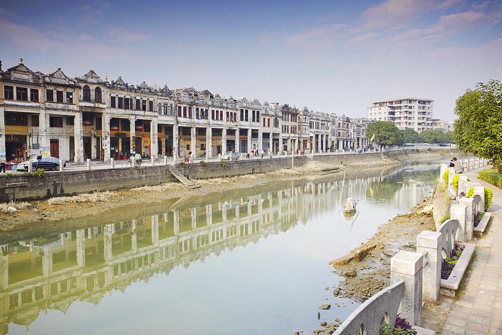 Colonial architecture along riverfront, Chikanzhen, Guangdong, Guangdong, China, Asia