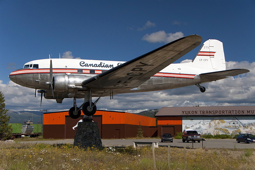Airport, retired DC-3 aircraft atop a swivelling support, the world's largest weather vane, Whitehorse, Yukon, Canada, North America