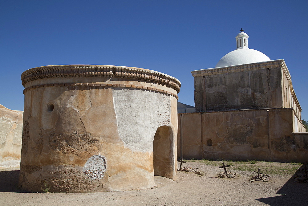 Mortuary chapel and graves, San Jose de Tumacacori Mission, established in 1691, Tumacacori National Historic Park, New Mexico, United States of America, North America