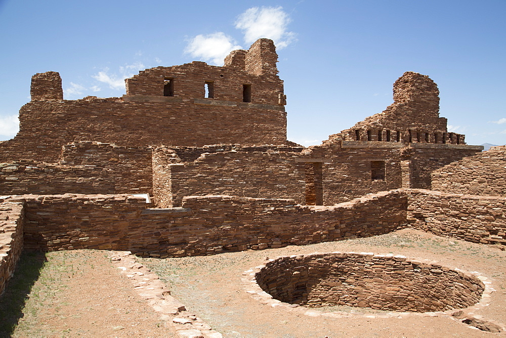 An excavated kiva in the foreground, Mission of San Gregorio de Abo, founded in the late 1620s, Salinas Pueblo Missions National Monument, New Mexico, United States of America, North America