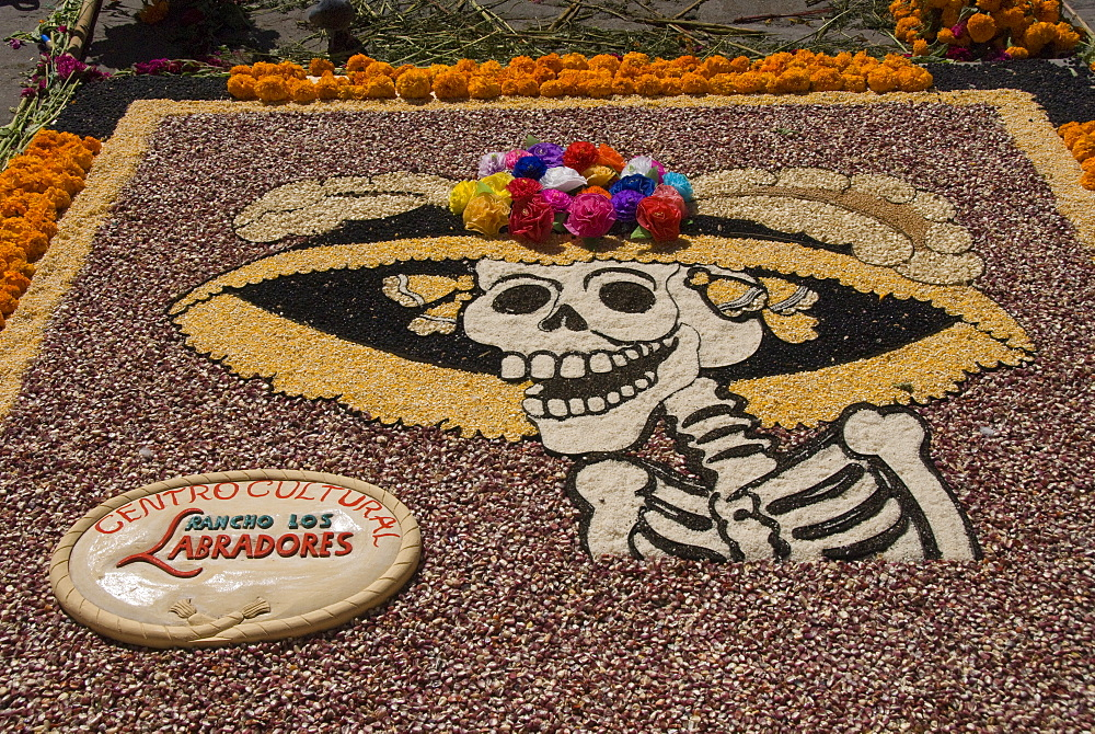 Decorations for the Day of the Dead festival, Plaza Principal, San Miguel de Allende, Guanajuato, Mexico, North America - 801-115