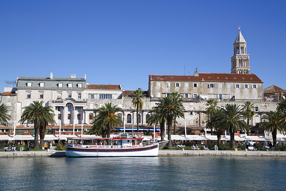 The Riva in the foreground and Cathedral of St. Dominus Tower in background, Split Harbor, Split, Dalmatia, Croatia, Europe