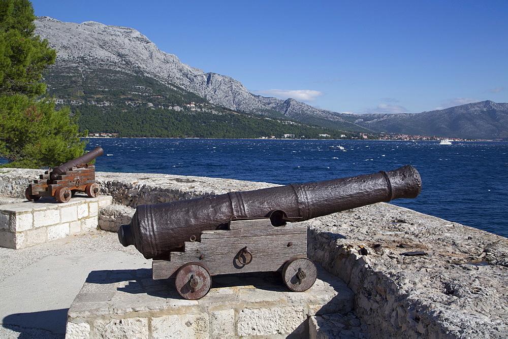 Old Cannons, Korcula Town,  Korcula Island, Croatia, Europe