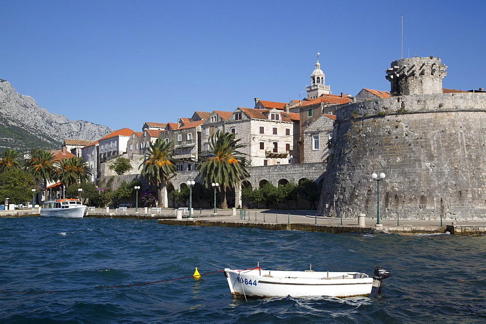 Large Governor's Tower on the right dates from 1493, Korcula Town, Korcula Island, Croatia, Europe