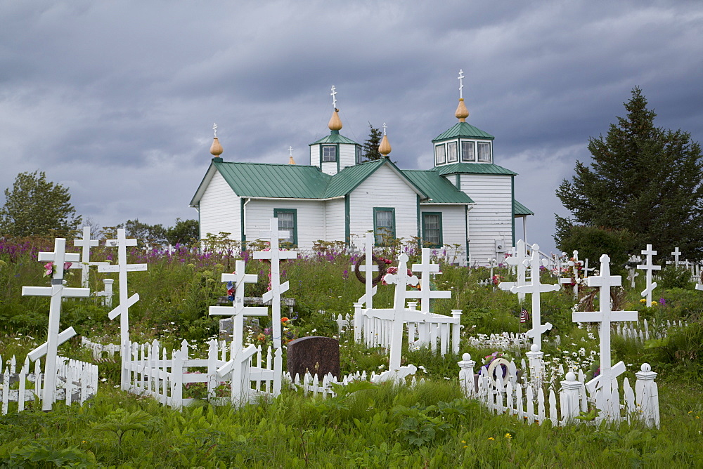 Transfiguration of our Lord Church, old Russian Church, founded 1846, Ninilchik, Alaska, United States of America, North America