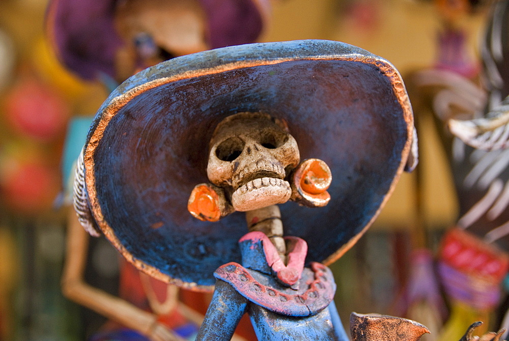Detail of figurines on sale for the Day of the Dead celebration, San Miguel de Allende, Guanajuato, Mexico, North America - 801-123