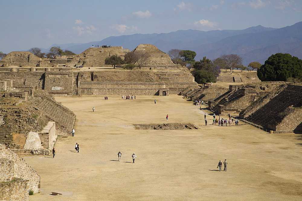 Plaza Principal, view from the Southern Platform, Monte Alban, UNESCO World Heritage Site, Oaxaca, Mexico, North America