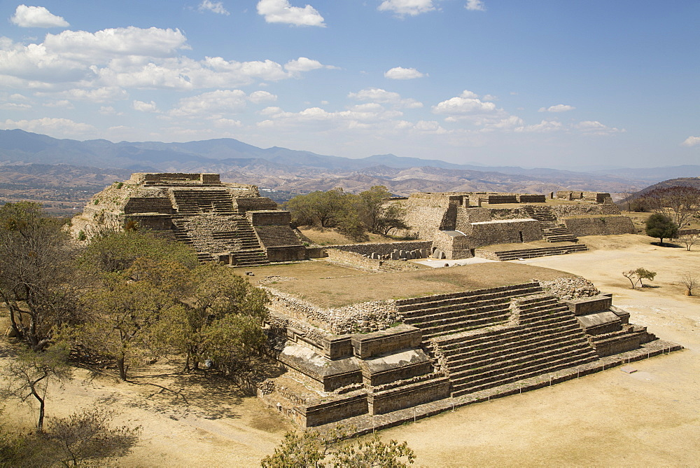 Building Groups M and O in foreground on left, with Building L in background on right, Monte Alban, UNESCO World Heritage Site, Oaxaca, Mexico, North America