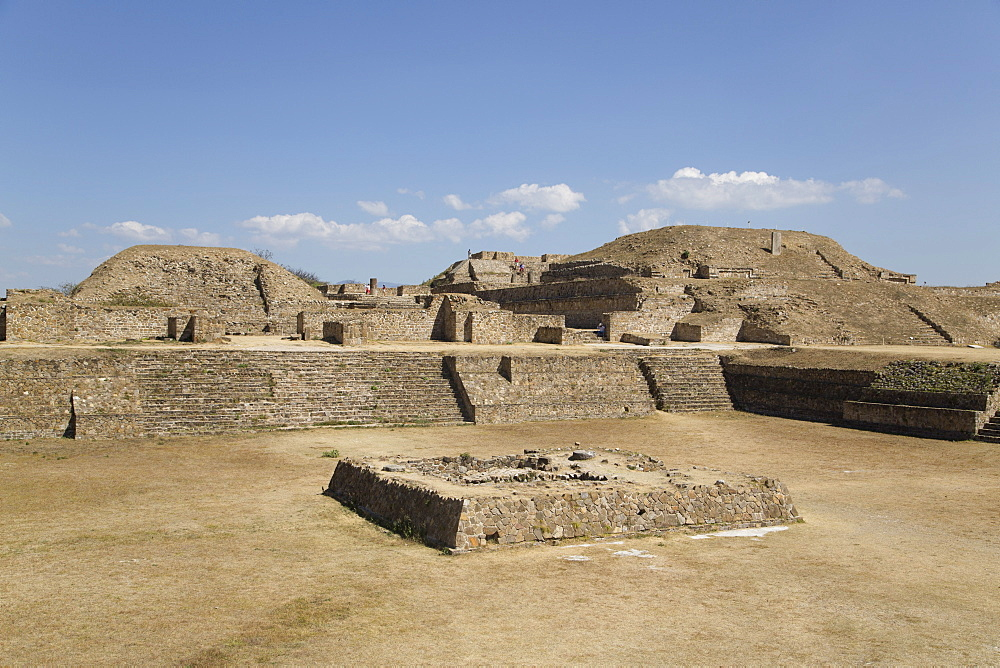 Sunken Patio in the foreground with Building E in background right and Building I in background left, Monte Alban, UNESCO World Heritage Site, Oaxaca, Mexico, North America