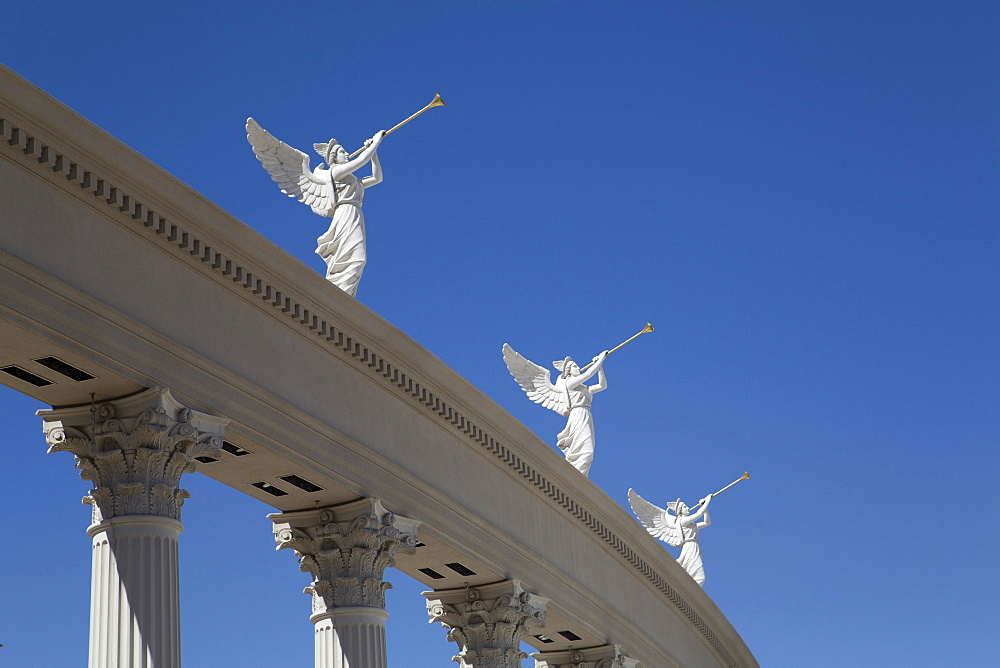 Statues of angels playing bugles, Caesar's Palace Hotel, Las Vegas, Nevada, United States of America, North America