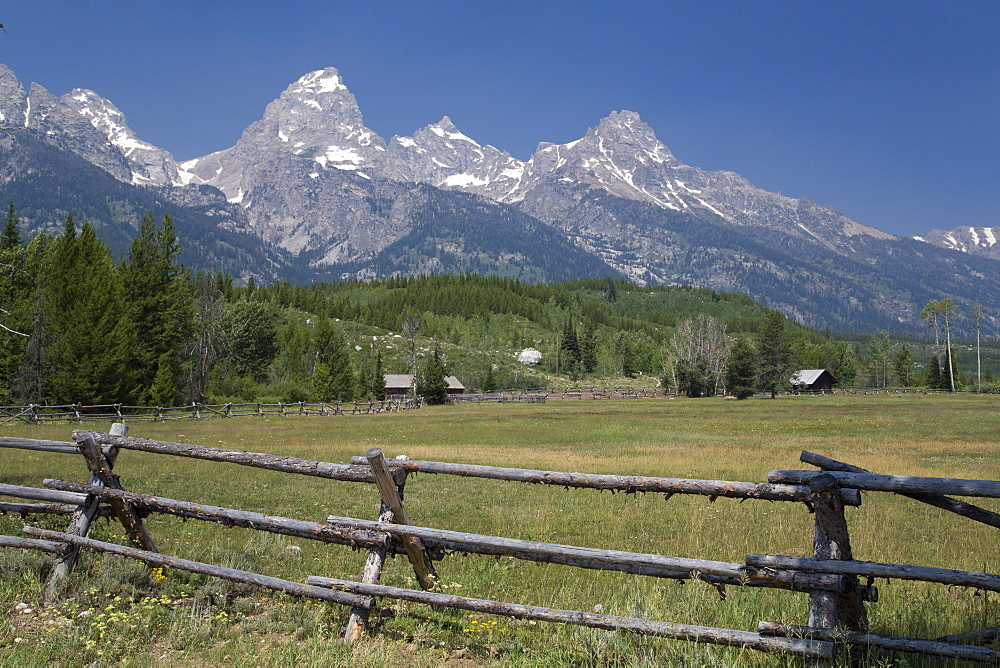 Ranch and Teton Range, Grand Teton National Park, Wyoming, United States of America, North America